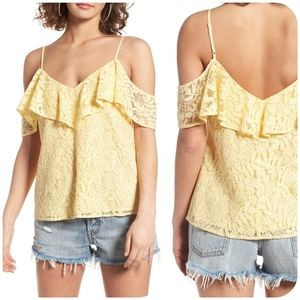 WAYF Luxia Lace Cold-Shoulder Ruffle Top Small